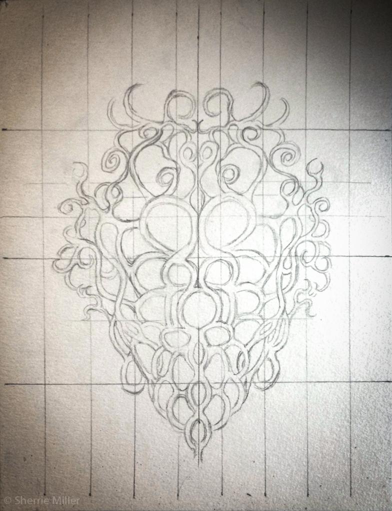 sketch by artist Sherrie Miller titled Death Mask