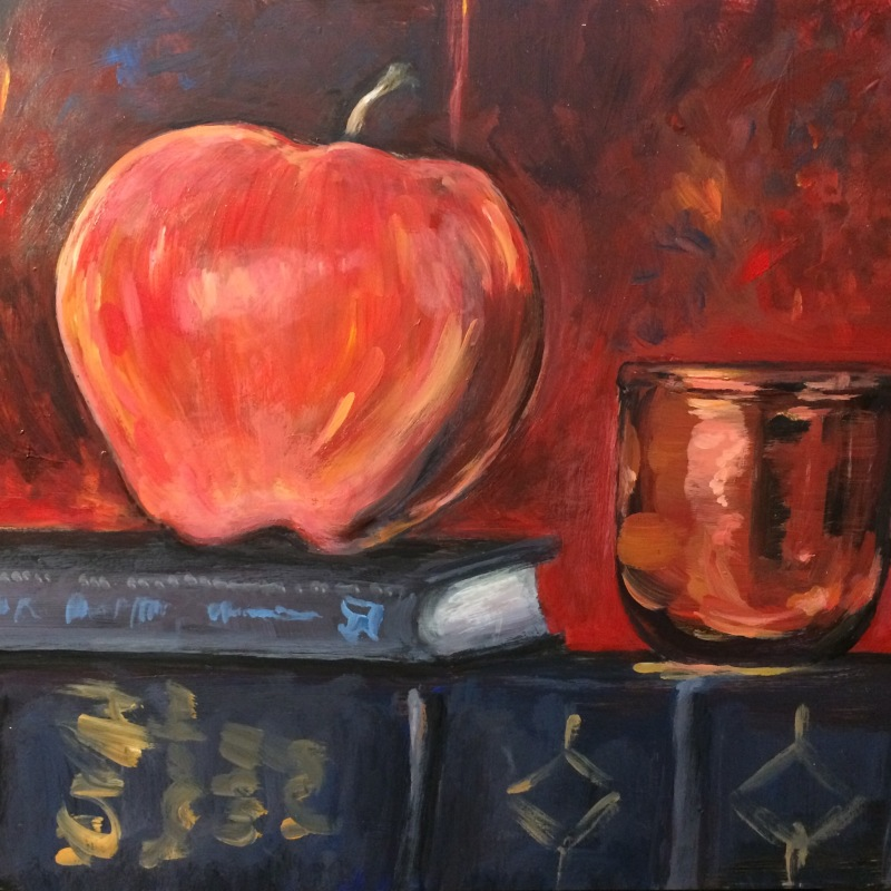 painting by artist Sherrie Miller titled Apple and a Copper Cup
