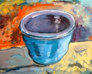 painting by artist Sherrie Miller titled Little Blue Vase