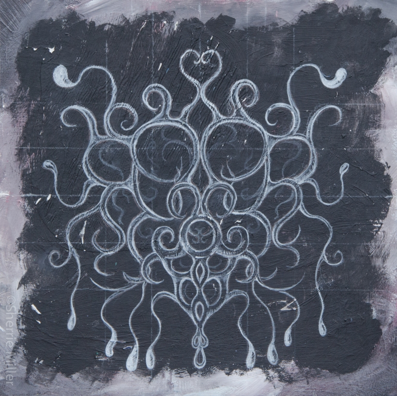 mixed media by artist Sherrie L. Miller titled Milk of Cthulhu