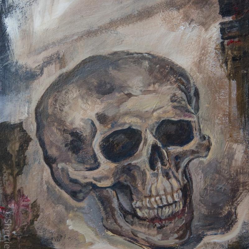 painting by artist Sherrie Miller titled Skull