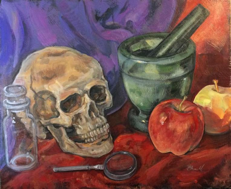 painting by artist Sherrie Miller titled Still Life With Skull