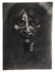 self-portrait charcoal drawing by artist Sherrie L. Miller