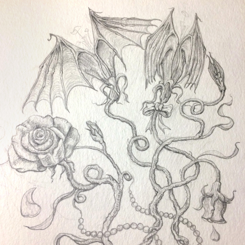 drawing by artist Sherrie L. Miller titled Love Bats – romantic gifts (detail)