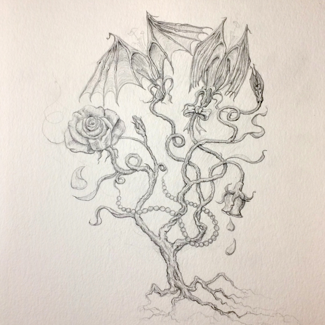 drawing by artist Sherrie Miller titled Love Bats – romantic gifts